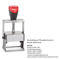 Adressenstempel « AUTO » mit Kissen Firmenstempel Autohaus Werkstatt